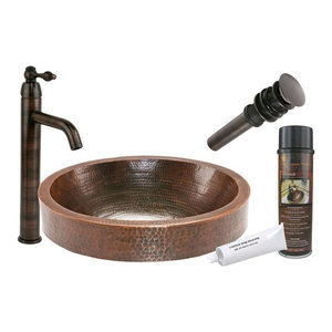 Oval Skirted Vessel Hammered Copper Sink With Orb Vessel Faucet