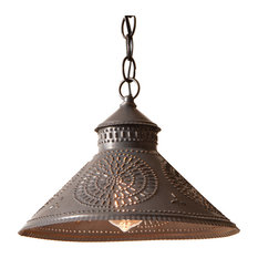 Stockbridge Shade Light Pendant with Chisel in Blackened Punched Tin