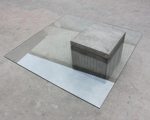 Table basse b ton carr e avec plateau en verre concrete coffee table - Table basse verre carree ...