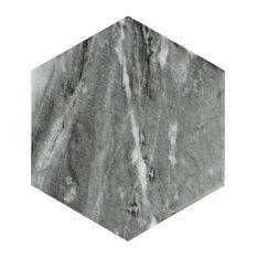 "7""x8"" Carra Bardiglio Hexagon Porcelain Floor and Wall Tile, Set of 35, Dark"