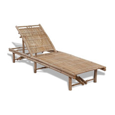 vidaXL Sunlounger Bamboo Adjustable Chaise Lounge Outdoor Pool Chair Day Bed