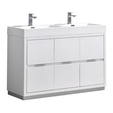 "Valencia 48"" Glossy White Free Standing Double Sink Bathroom Vanity"