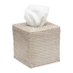 Square Rattan Tissue Box Cover, White