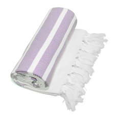 Herringbone Pestemal Towel, Lilac and White