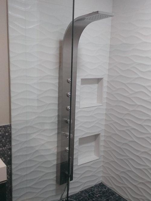 MASTER BATHROOM - Large Wave Tile Shower / Penny Tile ...