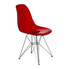 Leisuremod Cresco Molded Eiffel Base Dining Chair, Transparent Red