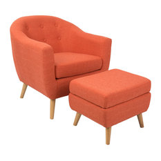 LumiSource Rockwell Chair With Ottoman, Orange