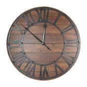 Beautiful Metal and Wood Wall Clock, Black and Brown