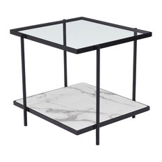 Modern Square Sofa End Side Table Matte Black White Glass Faux Marble Steel