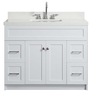Hamlet 55 Bath Vanity White With Quartz Vanity Top White With White Basin Transitional Bathroom Vanities And Sink Consoles By Modern Bath House Houzz