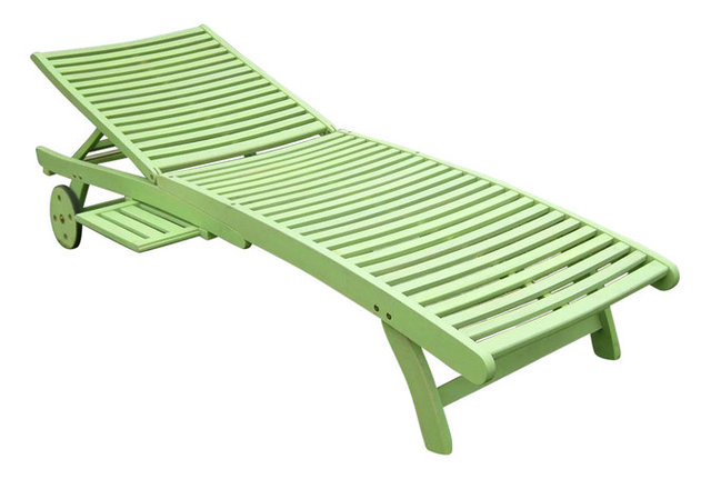 Chelsea Chaise Lounge Mint Green Contemporary Outdoor Chaise