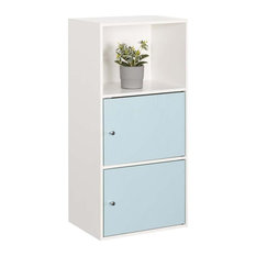 Xtra Storage 2 Door Cabinet with Seafoam and White Wood Finish