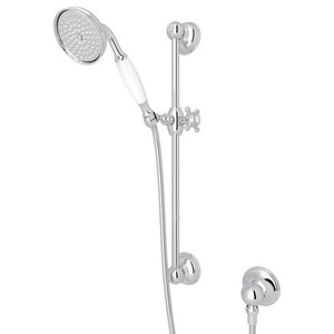 Rohl Brass Wall Mounted Handshower/Hose/Bar/Outlet Set, Polished Chrome