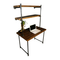 "Urban Wood Furnishings - Reclaimed Wood Desk, 2 Shelves, Wall Attach, Endurovar, 36""x30"" - Desks and Hutches"