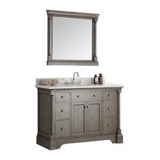 """Fresca Kingston 48"""" Antique Silver, Bathroom Vanity With Mirror"""