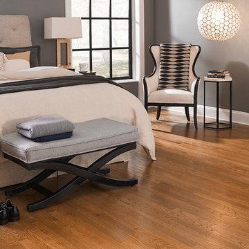 Modern, Black and White Bedroom - Nantucket Gunstock, Solid, Red Oak Hardwood
