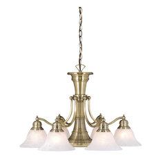 Standford 7-Light Chandelier, Antique Brass/Alabaster