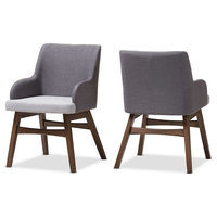 Mid Century Modern Two Tone Gray Fabric Armchair-Set of 2