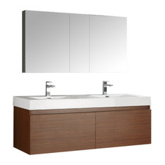"Mezzo 60"" Teak Wall Hung Double Sink Bathroom Vanity Set, Versa Nickel Faucet"