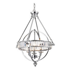 Edvivi LLC - 3-Light Chrome Sphere Chandelier With Crystals Belt - Chandeliers
