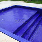 Glass tile pool with oversize waterfall contemporary pool miami by foreverpools - Diamond brite espana ...