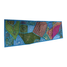 Mogul Interior - Consigned Blue Sari Patchwork Sequin Embroidered Tapestry - Table Runners