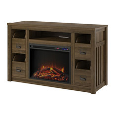 Victoria TV Stand With Fireplace 55-inch Brown Oak
