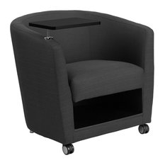 Charcoal Gray Fabric Storage Guest Chair With Tablet Arm Front Wheel Casters