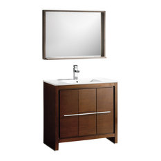 "Fresca Allier 36"" Wenge Brown Modern Bathroom Vanity With Mirror"