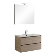 Berlin 2-Drawer Bathroom Vanity Unit With Mirror and Ceramic Sink, Elm, 80 cm