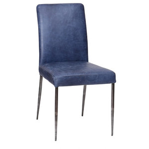 High Back Leather Dining Chair, Dark Blue