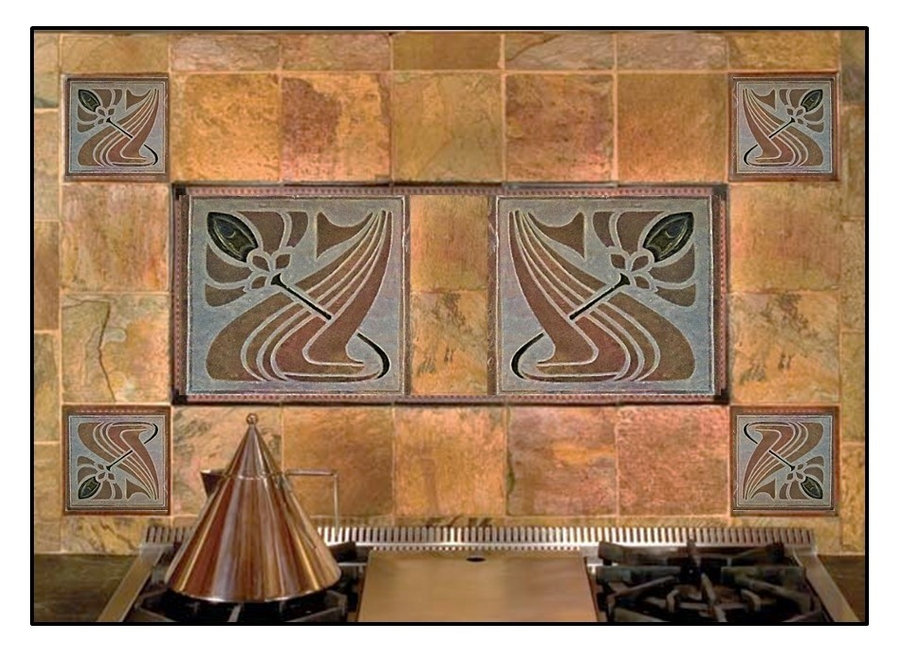 Kitchen Backsplash : Craftman style stone tiles