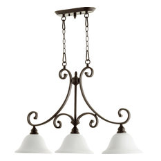 Bryant 3-Light Opal Isle Island Light, Oiled Bronze With Satin Opal