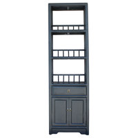 Chinese Distressed Black Small Display Bookcase Curio Cabinet Hcs5084
