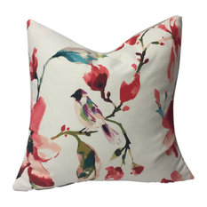 """Watercolor Flowers and Bird Motif PIllow, Red, 20"""", With Insert"""