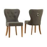 Kalim Dining Chair, Grey Fabric, Set of 2