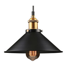 Umbrella Shape Metal Pendant Light Fixture Black Finish