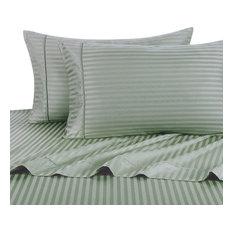 650 TC Striped Cotton Blend Sheet Set, Sage, King