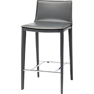 Palma Counter Stool in Grey Leather by Nuevo