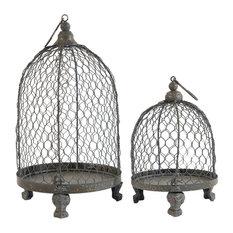 Bird Cage Shape Metal Candleholders, 2-Piece Set