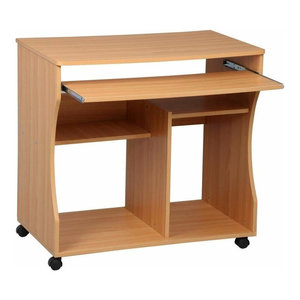 Modern Stylish Desk, MDF With Sliding Tray and Open Shelves for Storage, Beech