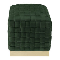 Nicole Miller Nirin Velvet Ottoman, Hand Woven/Steel Base, Hunter Green/Gold
