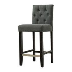 Kimberly 29-inch Upholstered Bar Stools Set Of 2 Dark Gray
