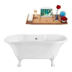 "Soaking Clawfoot Tub With External Drain, 60"", White, Chrome"