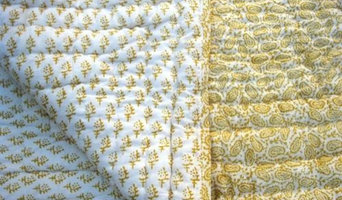 Tilonia® Block Print Queen Quilt - Paisley & Sprig in Mustard Yellow
