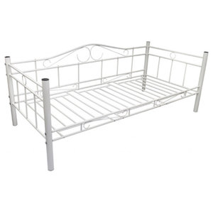 vidaXL Single Day Bed, Metal, White