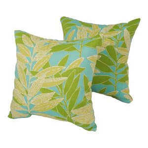 "Blaziing Needles 17"" Outdoor Throw Pillows, Green, Set of 2"
