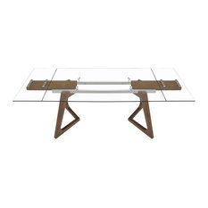 Vig Furniture Inc.   Modrest Ruth Modern Extendable Glass And Walnut Dining  Table   Dining