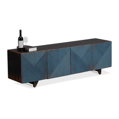 71-inch Olinto Under A Tv Cabinet Reclaimed Solid Pine Wood Dark Blue Wash Brown Top