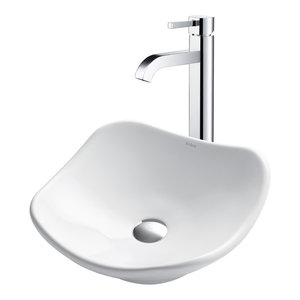 Ceramic Vessel Bathroom Sink and Vessel Faucet, Chrome Finish